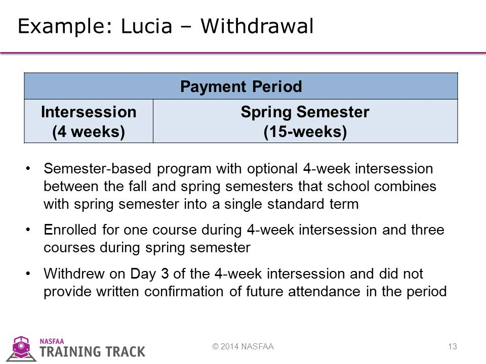 © 2014 NASFAA13 Example: Lucia – Withdrawal Semester-based program with optional 4-week intersession between the fall and spring semesters that school combines with spring semester into a single standard term Enrolled for one course during 4-week intersession and three courses during spring semester Withdrew on Day 3 of the 4-week intersession and did not provide written confirmation of future attendance in the period Payment Period Intersession (4 weeks) Spring Semester (15-weeks)