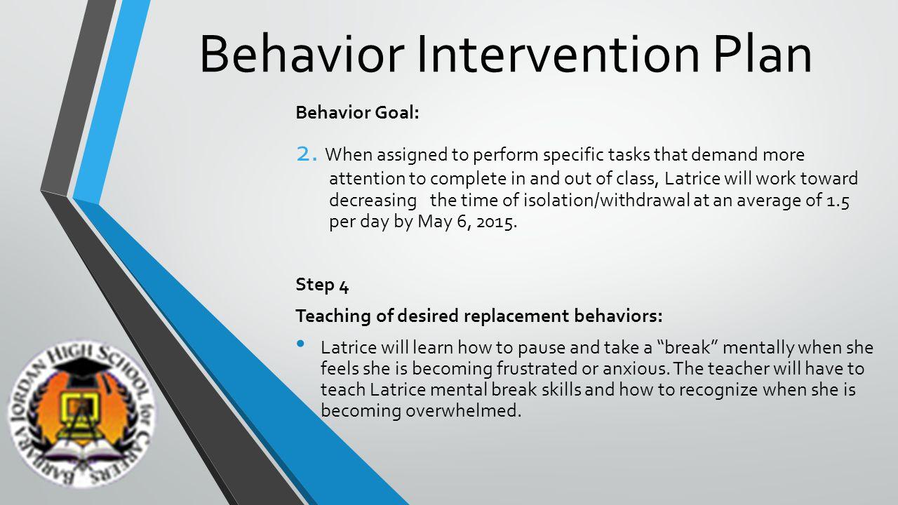 Behavior Intervention Plan Behavior Goal: 2.
