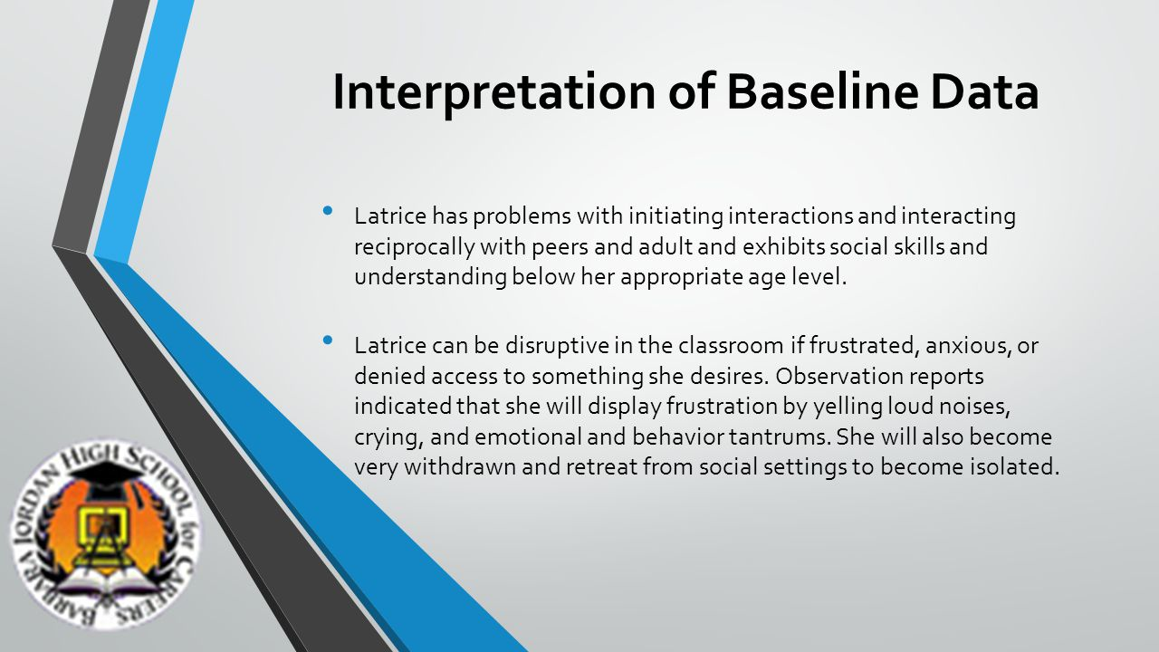 Interpretation of Baseline Data The following incidents are to be considered non occurrences; talking lower than others, not speaking loudly, not working in a group setting of more than one peer.
