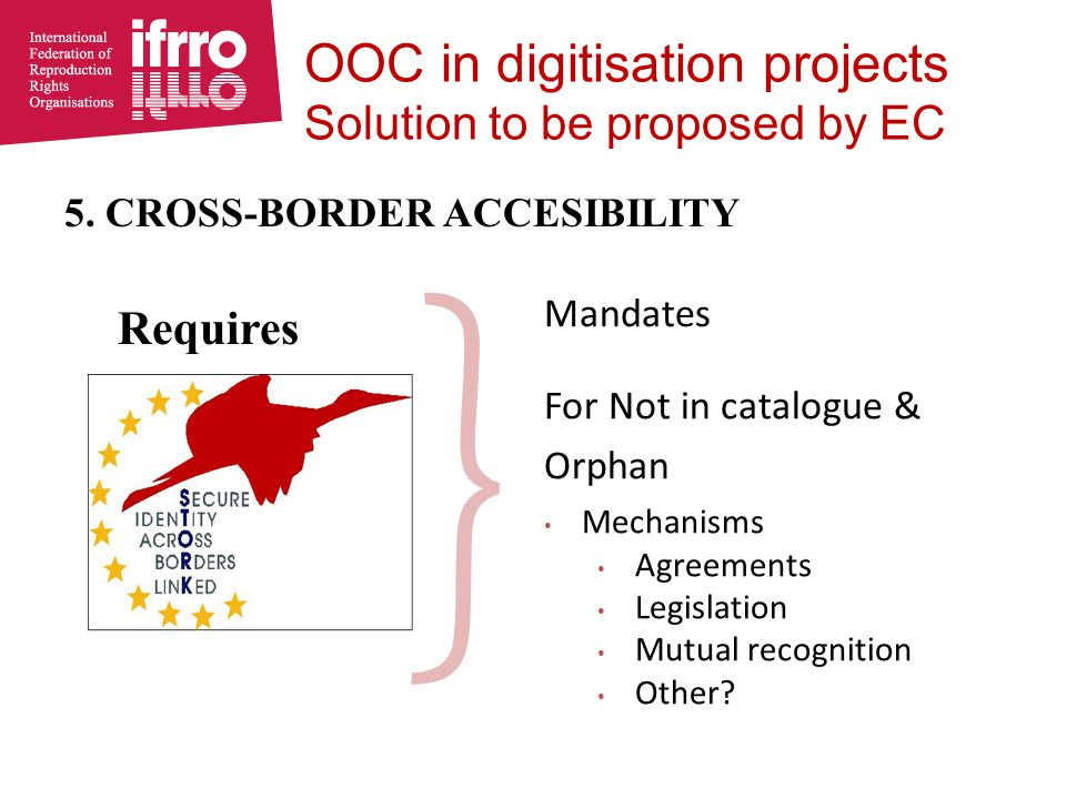 5. CROSS-BORDER ACCESIBILITY Requires } Mandates For Not in catalogue & Orphan Mechanisms Agreements Legislation Mutual recognition Other? OOC in digi