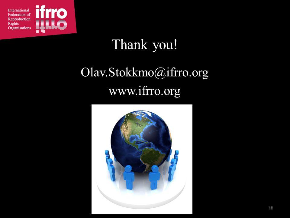 18 Thank you! Olav.Stokkmo@ifrro.org www.ifrro.org