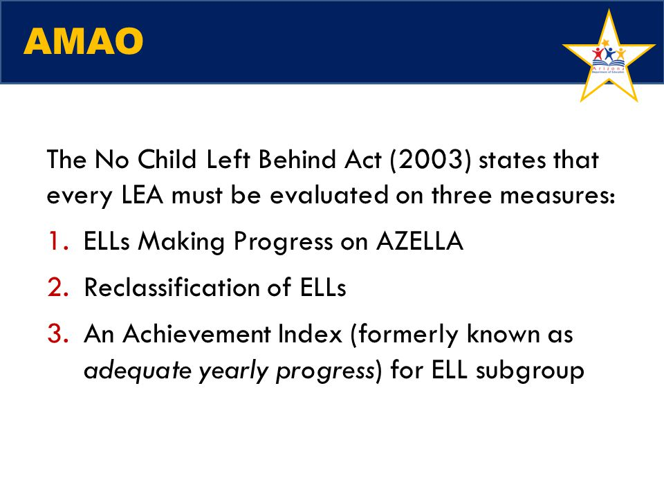 AMAO The No Child Left Behind Act (2003) states that every LEA must be evaluated on three measures: 1.ELLs Making Progress on AZELLA 2.Reclassificatio