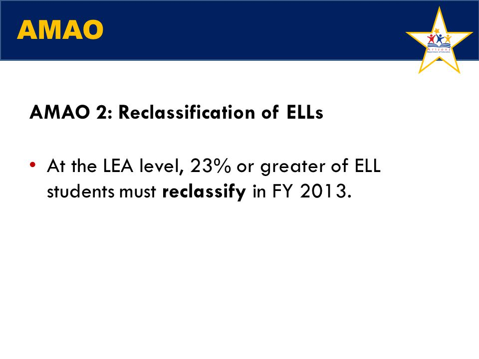 AMAO AMAO 2: Reclassification of ELLs At the LEA level, 23% or greater of ELL students must reclassify in FY 2013.