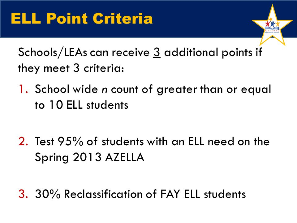 ELL Point Criteria Schools/LEAs can receive 3 additional points if they meet 3 criteria: 1.School wide n count of greater than or equal to 10 ELL stud