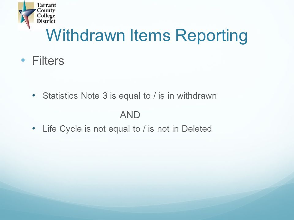 Withdrawn Items Reporting Future
