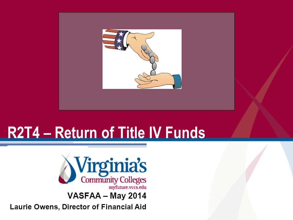 Photo or Art Optional R2T4 – Return of Title IV Funds VASFAA – May 2014 Laurie Owens, Director of Financial Aid