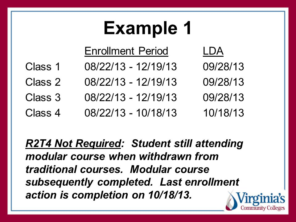 Example 1 Enrollment PeriodLDA Class 108/22/13 - 12/19/13 09/28/13 Class 208/22/13 - 12/19/13 09/28/13 Class 308/22/13 - 12/19/13 09/28/13 Class 408/22/13 - 10/18/13 10/18/13 R2T4 Not Required: Student still attending modular course when withdrawn from traditional courses.