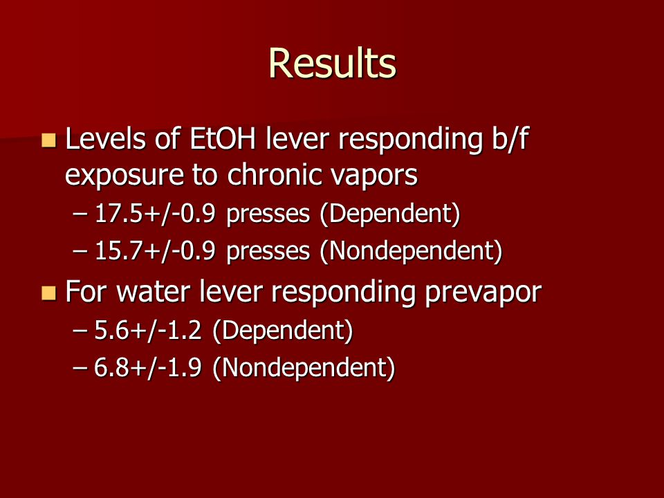 Results Levels of EtOH lever responding b/f exposure to chronic vapors Levels of EtOH lever responding b/f exposure to chronic vapors –17.5+/-0.9 presses (Dependent) –15.7+/-0.9 presses (Nondependent) For water lever responding prevapor For water lever responding prevapor –5.6+/-1.2 (Dependent) –6.8+/-1.9 (Nondependent)