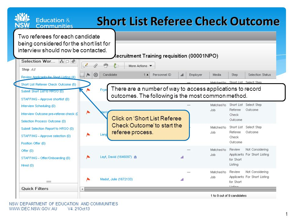 In the step 'Short List Referee Check Outcome', the Hiring Manager/Hiring Manager Assistant moves the candidates from 'Select Step Outcome' to either: 'Recommended for Short Listing' OR 'Not Short Listed (Unsuccessful)' OR 'Candidate Withdrawn' where an applicant has advised you they wish to withdraw their application.