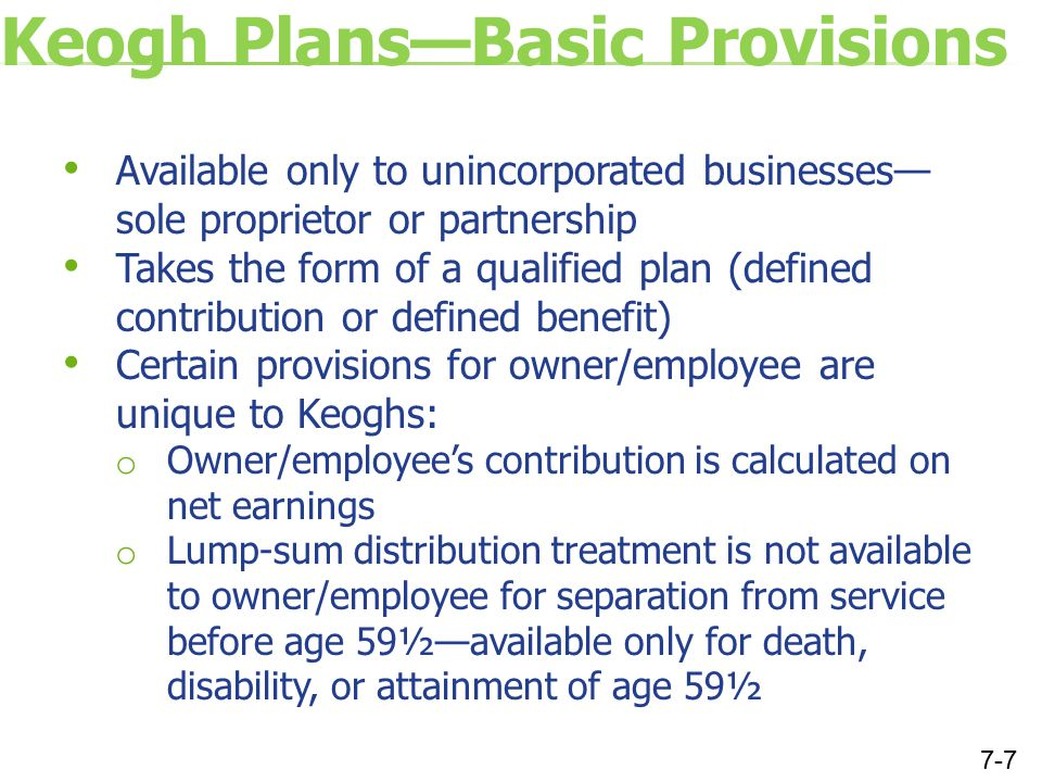 Calculation of Maximum Deduction for Keogh Plan Contribution Step 1: Calculate self-employment tax Schedule C net profit (business profit)$100,000 Less 7.65% of self-employment income($7,650) Self-employment income subject to self-employment taxes$92,350 Times 15.3% equals self-employment tax$14,129.55 7-8