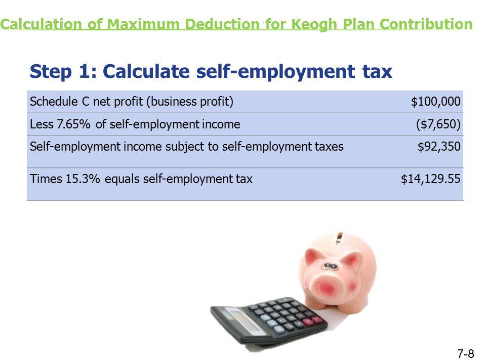 Calculation of Maximum Deduction for Keogh Plan Contribution Step 1: Calculate self-employment tax Schedule C net profit (business profit)$100,000 Les