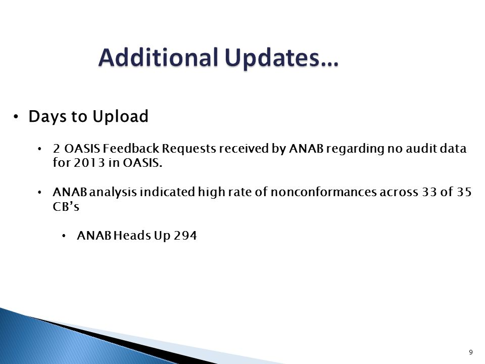 9 Days to Upload 2 OASIS Feedback Requests received by ANAB regarding no audit data for 2013 in OASIS. ANAB analysis indicated high rate of nonconform