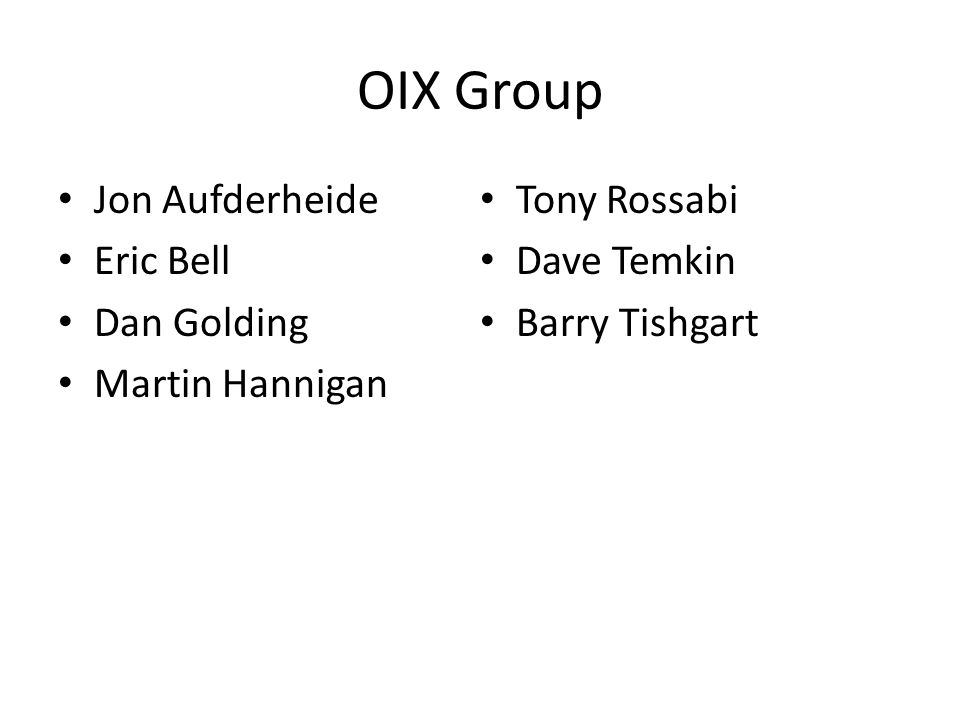 Community Support Wide variance of group members Survey responses Public and positive comments at 2 x NANOG Intend to elect members of OIX to solidify