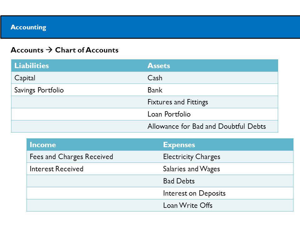 Accounts  Chart of Accounts Accounting LiabilitiesAssets CapitalCash Savings PortfolioBank Fixtures and Fittings Loan Portfolio Allowance for Bad and Doubtful Debts IncomeExpenses Fees and Charges ReceivedElectricity Charges Interest ReceivedSalaries and Wages Bad Debts Interest on Deposits Loan Write Offs