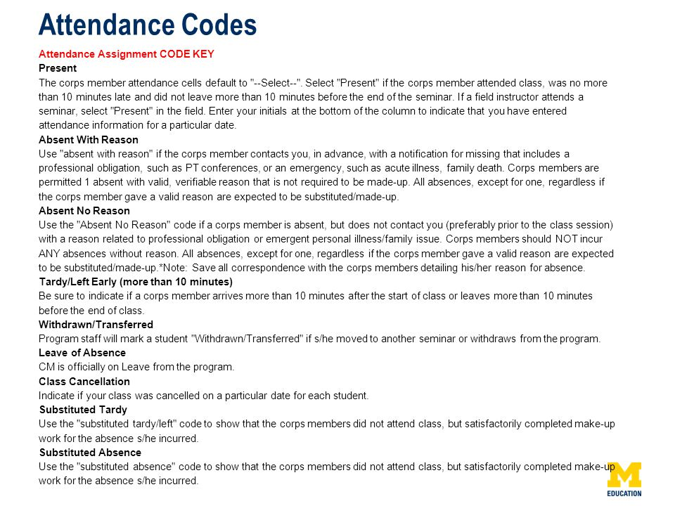 Attendance Codes Attendance Assignment CODE KEY Present The corps member attendance cells default to --Select-- .
