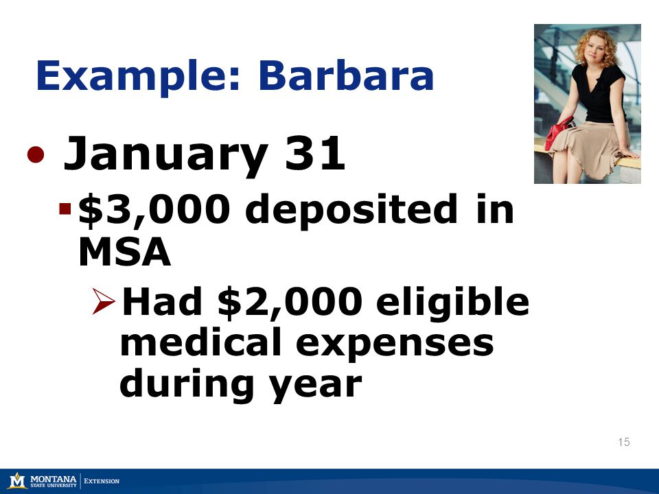 Example: Barbara January 31  $3,000 deposited in MSA  Had $2,000 eligible medical expenses during year 15