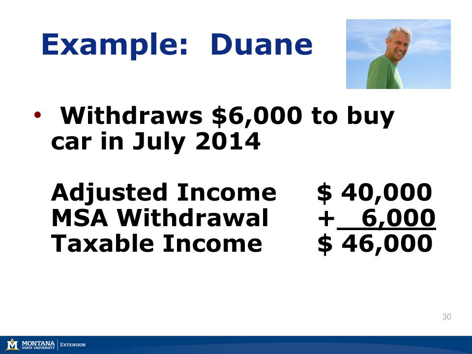 Example: Duane Withdraws $6,000 to buy car in July 2014 Adjusted Income$ 40,000 MSA Withdrawal+ 6,000 Taxable Income $ 46,000 30