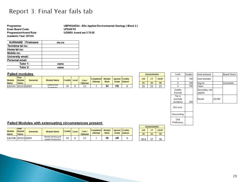 Report 3: Final Year fails tab 29