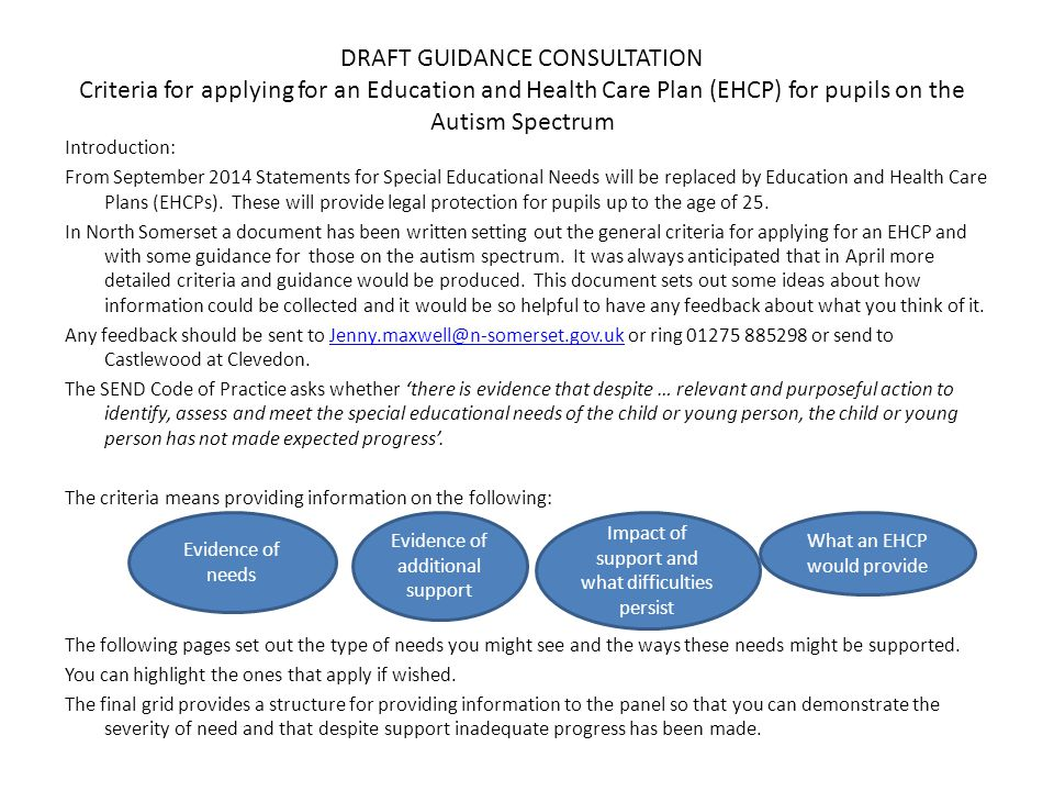 DRAFT GUIDANCE CONSULTATION Criteria for applying for an Education and Health Care Plan (EHCP) for pupils on the Autism Spectrum Introduction: From September 2014 Statements for Special Educational Needs will be replaced by Education and Health Care Plans (EHCPs).