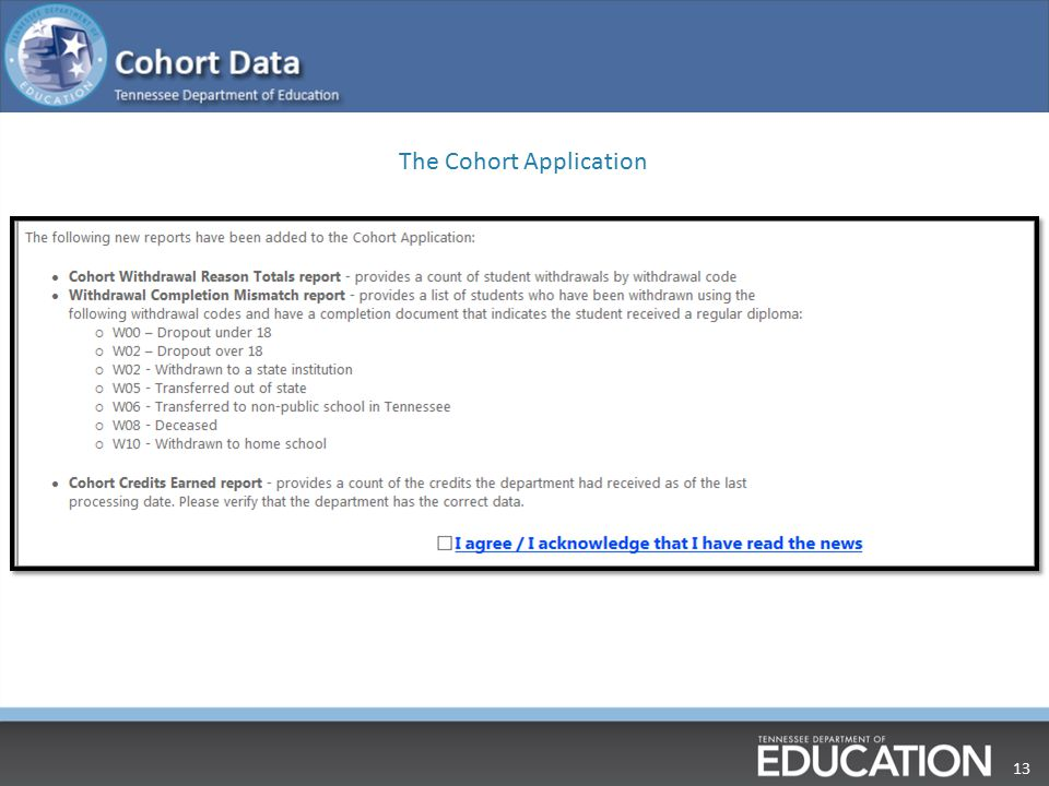 13 The Cohort Application