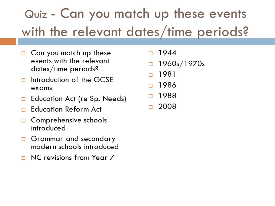 Quiz - Can you match up these events with the relevant dates/time periods.