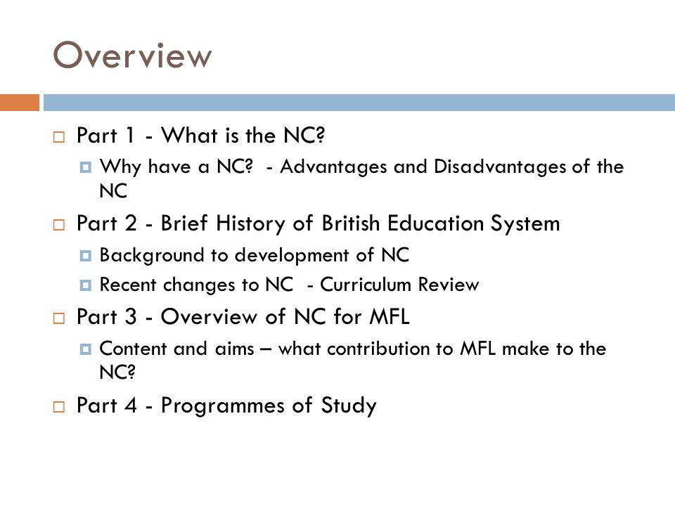 Part 1 Task 1 – Group Discussion What is the national Curriculum.