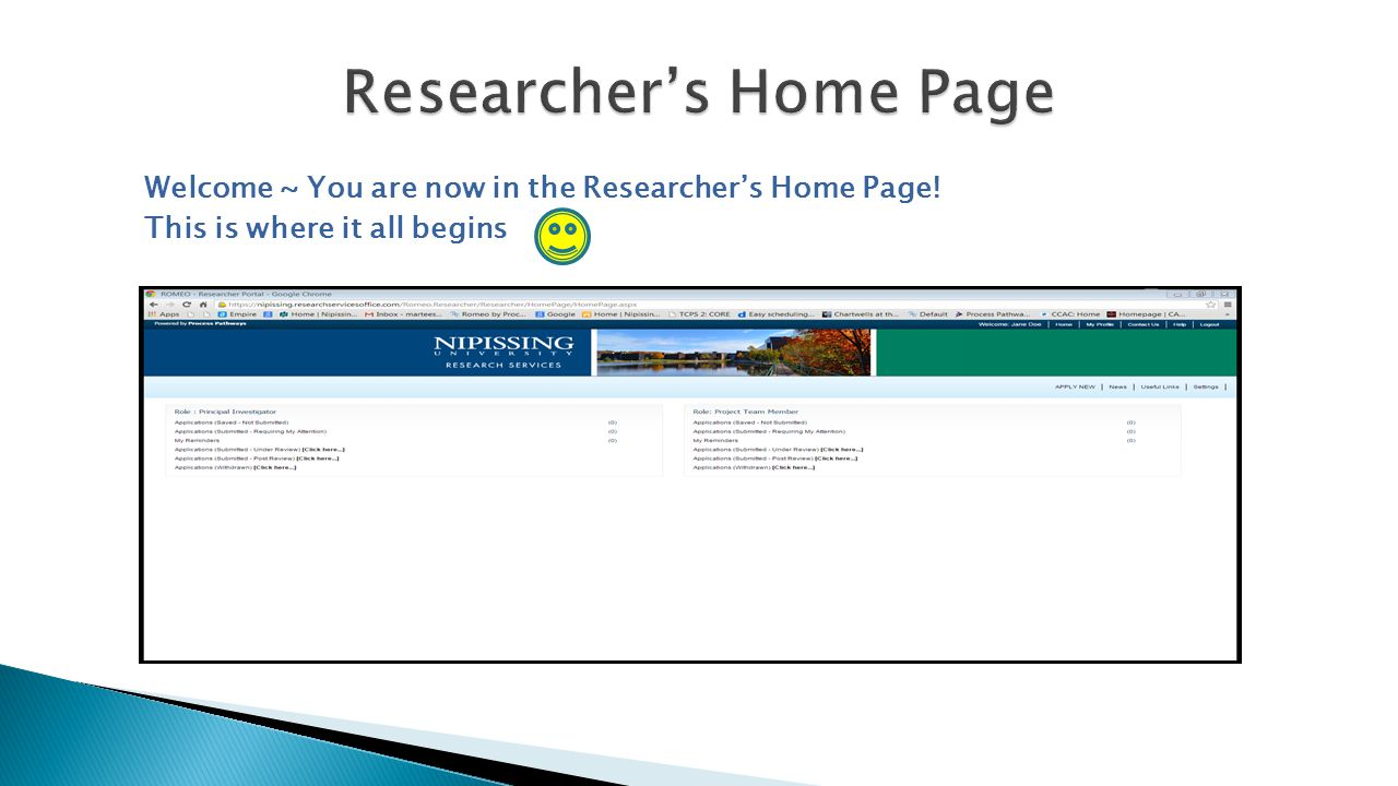 Welcome ~ You are now in the Researcher's Home Page! This is where it all begins