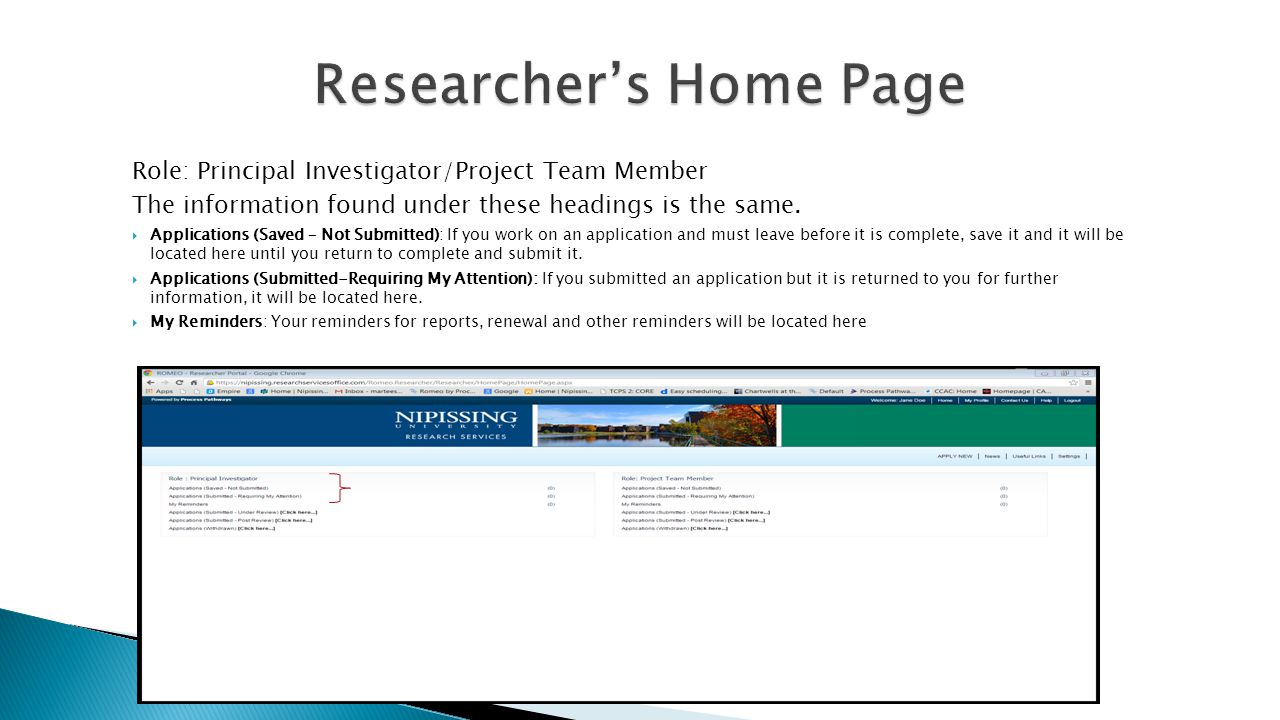 Role: Principal Investigator/Project Team Member The information found under these headings is the same.