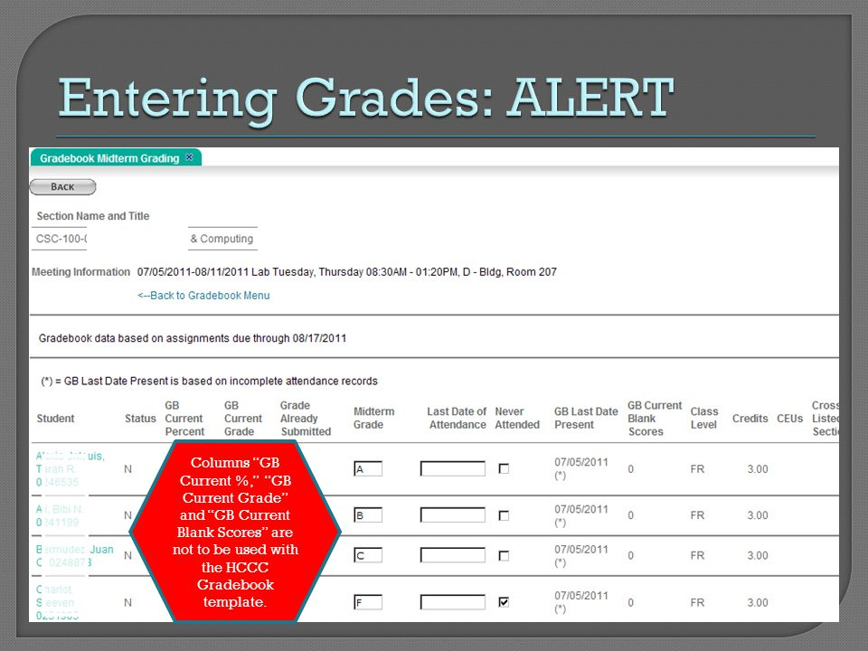 Columns GB Current %, GB Current Grade and GB Current Blank Scores are not to be used with the HCCC Gradebook template.