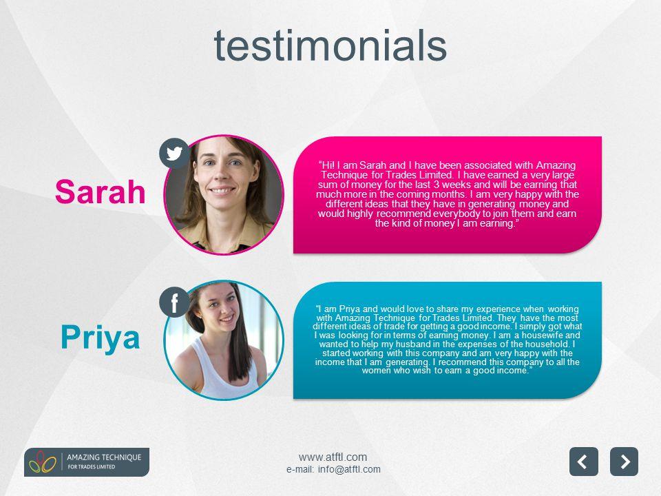 www.atftl.com e-mail: info@atftl.com Priya Sarah testimonials