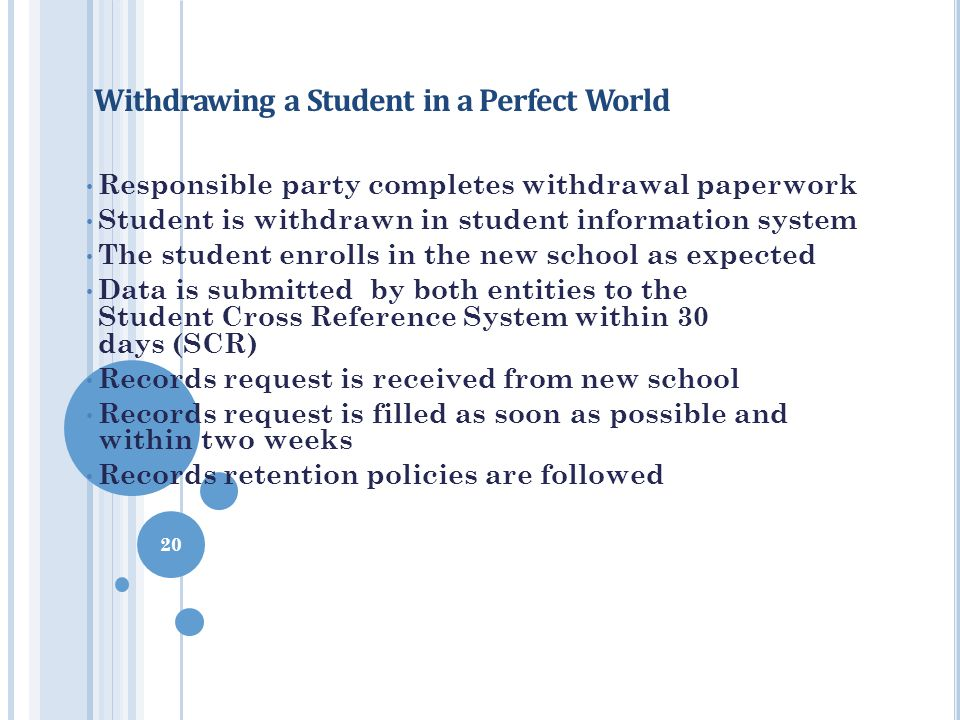 Withdrawing a Student in a Perfect World Responsible party completes withdrawal paperwork Student is withdrawn in student information system The stude