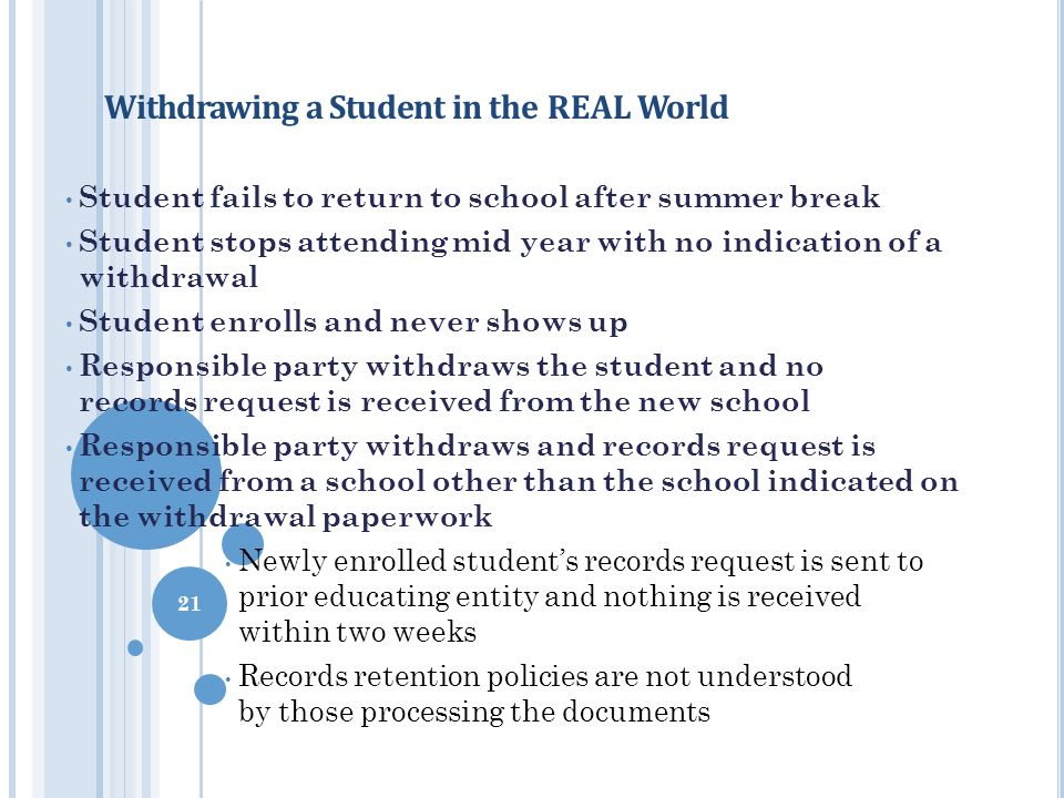Withdrawing a Student in the REAL World Student fails to return to school after summer break Student stops attending mid year with no indication of a