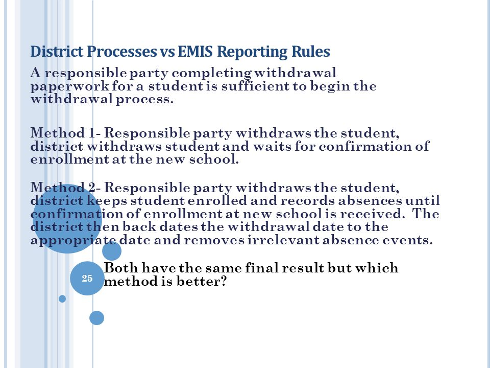 District Processes vs EMIS Reporting Rules A responsible party completing withdrawal paperwork for a student is sufficient to begin the withdrawal pro