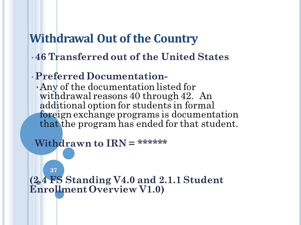 Withdrawal Out of the Country 46Transferred out of the United States Preferred Documentation- Any of the documentation listed for withdrawal reasons 4