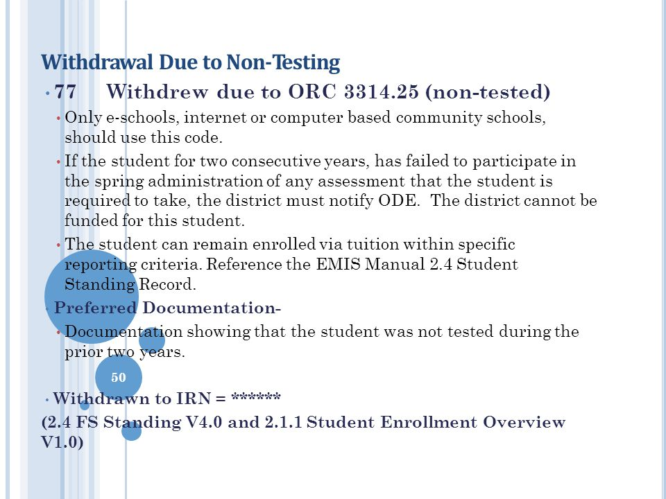 Withdrawal Due to Non-Testing 77Withdrew due to ORC 3314.25 (non-tested) Only e-schools, internet or computer based community schools, should use this