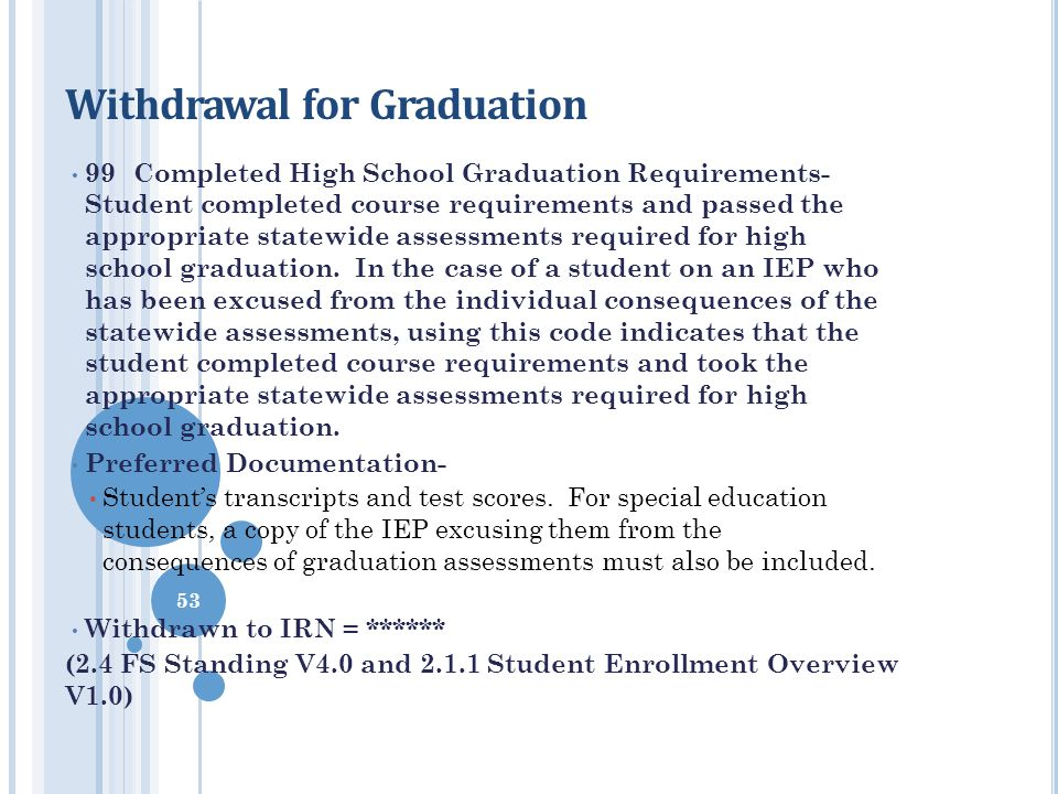 Withdrawal for Graduation 99 Completed High School Graduation Requirements- Student completed course requirements and passed the appropriate statewide