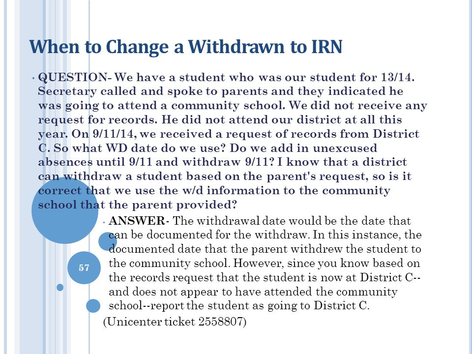 When to Change a Withdrawn to IRN QUESTION- We have a student who was our student for 13/14. Secretary called and spoke to parents and they indicated