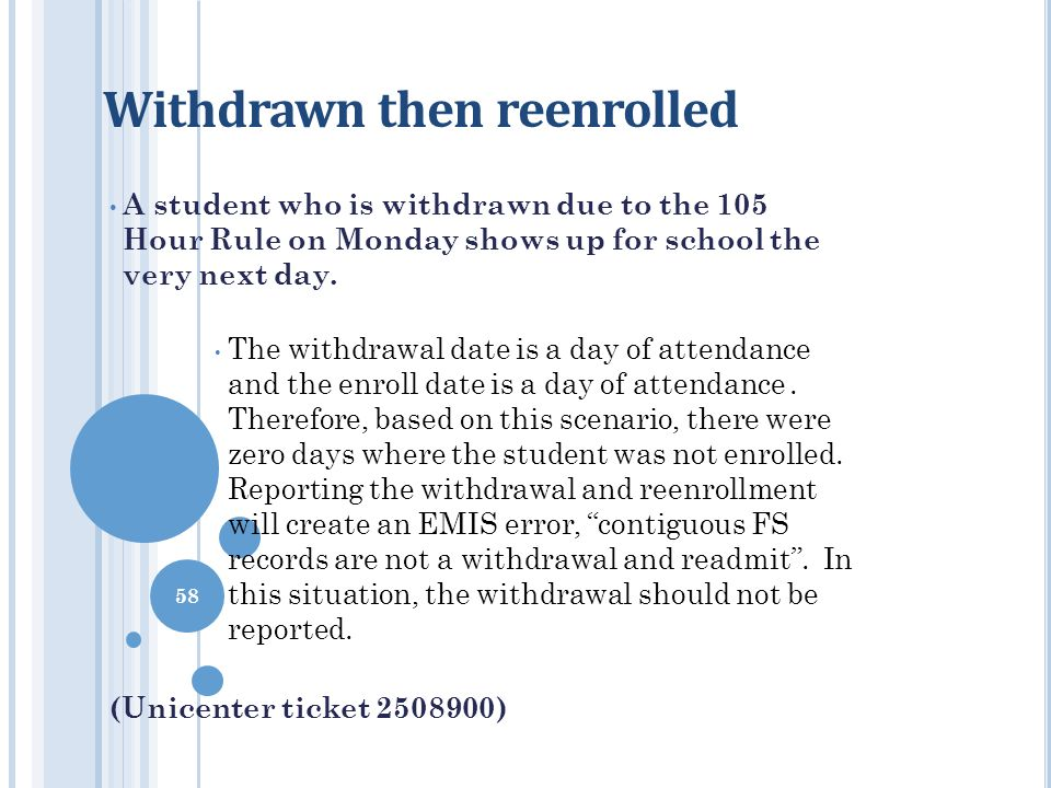 Withdrawn then reenrolled A student who is withdrawn due to the 105 Hour Rule on Monday shows up for school the very next day. The withdrawal date is