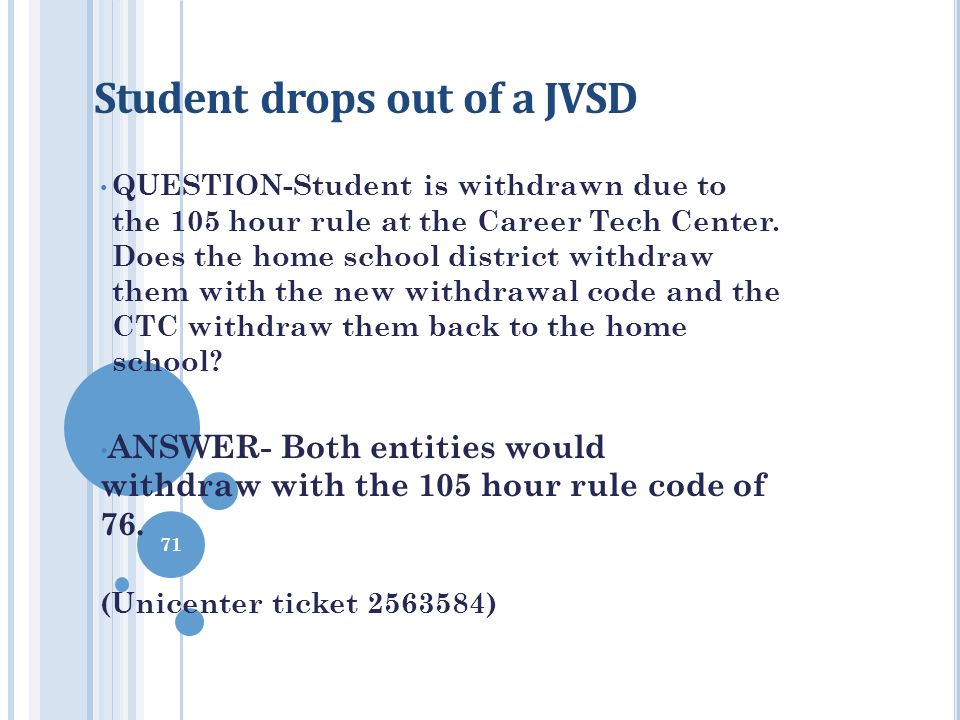Student drops out of a JVSD QUESTION-Student is withdrawn due to the 105 hour rule at the Career Tech Center. Does the home school district withdraw t