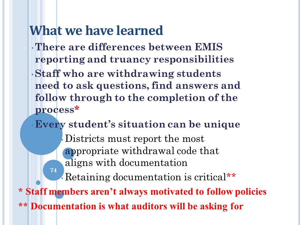 What we have learned There are differences between EMIS reporting and truancy responsibilities Staff who are withdrawing students need to ask question