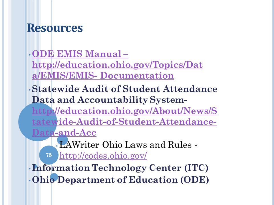 Resources ODE EMIS Manual – http://education.ohio.gov/Topics/Dat a/EMIS/EMIS- Documentation ODE EMIS Manual – http:/ education.ohio.gov/Topics/Dat a/E