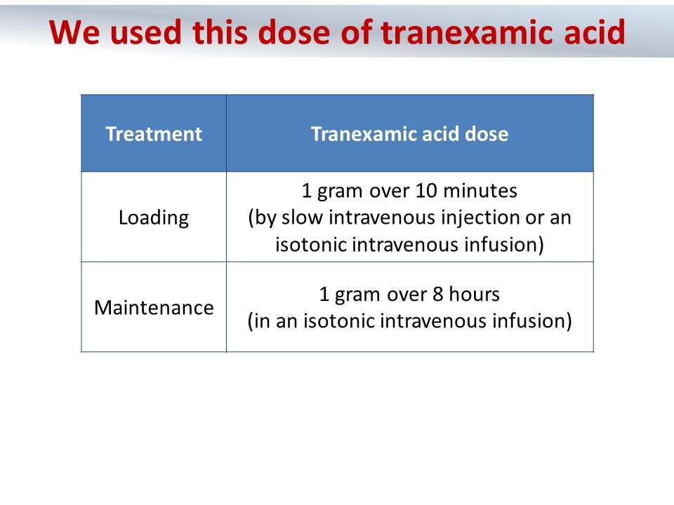TreatmentTranexamic acid dose Loading 1 gram over 10 minutes (by slow intravenous injection or an isotonic intravenous infusion) Maintenance 1 gram ov