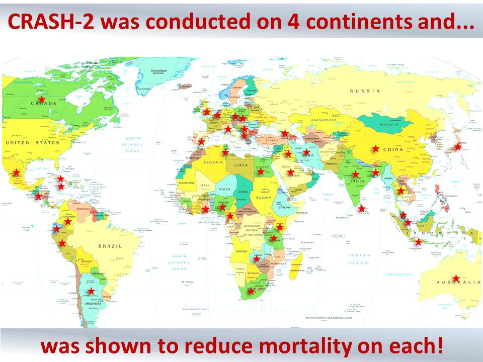 CRASH-2 was conducted on 4 continents and... was shown to reduce mortality on each!