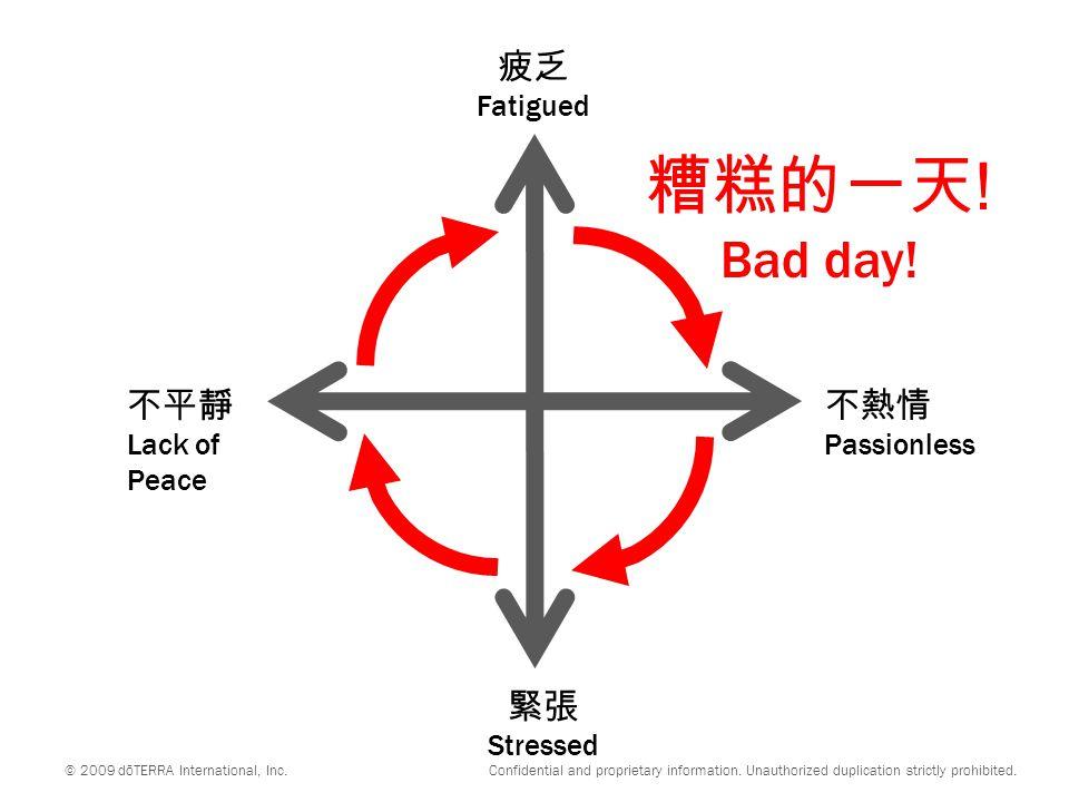 不平靜 Lack of Peace 不熱情 Passionless 緊張 Stressed 疲乏 Fatigued © 2009 dōTERRA International, Inc.