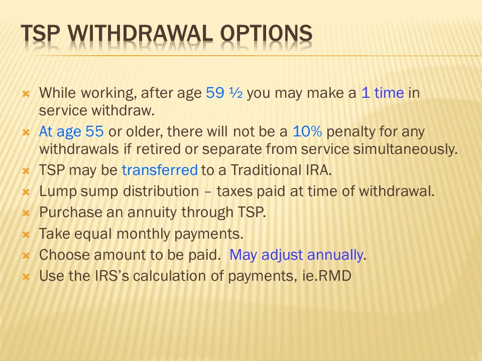  While working, after age 59 ½ you may make a 1 time in service withdraw.  At age 55 or older, there will not be a 10% penalty for any withdrawals i