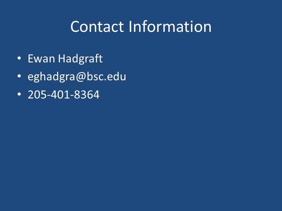 Contact Information Ewan Hadgraft