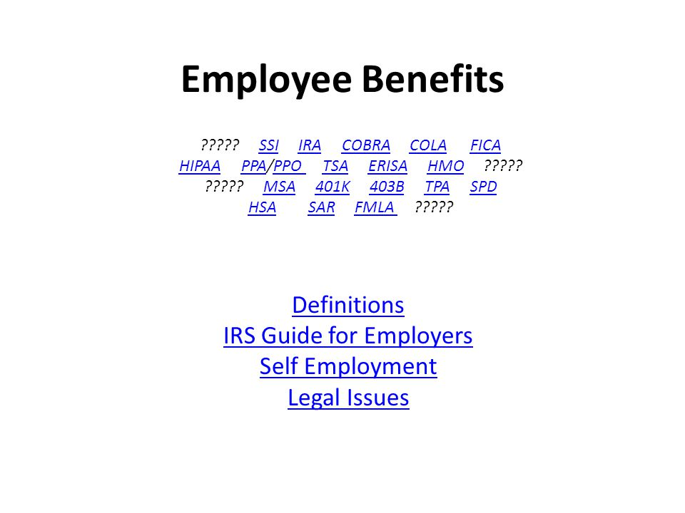 Most Offered Employee Benefits Offered by Employers Benefit Type Employers Offering Life Insurance 90% Vacation Pay 77% Holiday Pay 76% Medical Care 71% Retirement Plans 60% Education Assistance Programs 49% Non-Production Bonuses 46% Employee Assistance Programs 40% Healthcare Reimbursement Accounts 32% Dependent Care Reimbursement Accounts 30% Wellness Programs 23% Job-Related Travel And Accident Insurance 22% Employer Assistance For Childcare 15% Fitness Centers 13% Long Term Care Insurance 12% Adoption Assistance 10% Stock Options 8% Subsidized Commuting 5% Flexible Workplace 4% Employer Provided Personal Computer 2% 2 CSIS-415 Employee Benefits Tim Lederman