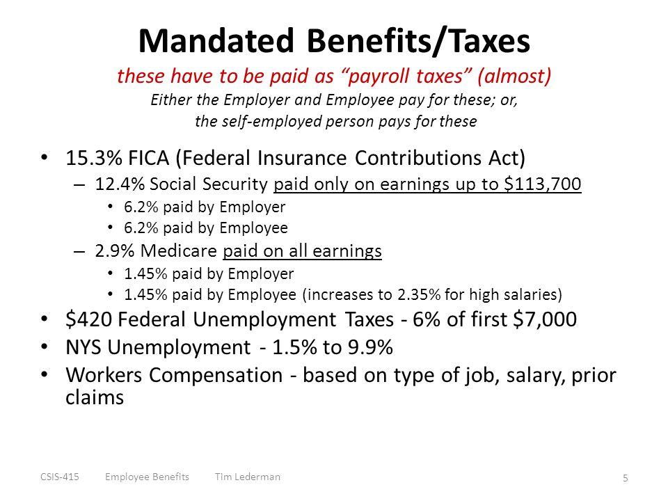 "Mandated Benefits/Taxes these have to be paid as ""payroll taxes"" (almost) Either the Employer and Employee pay for these; or, the self-employed person"