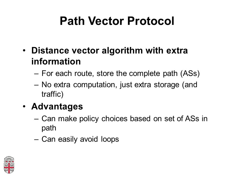Path Vector Protocol Distance vector algorithm with extra information –For each route, store the complete path (ASs) –No extra computation, just extra