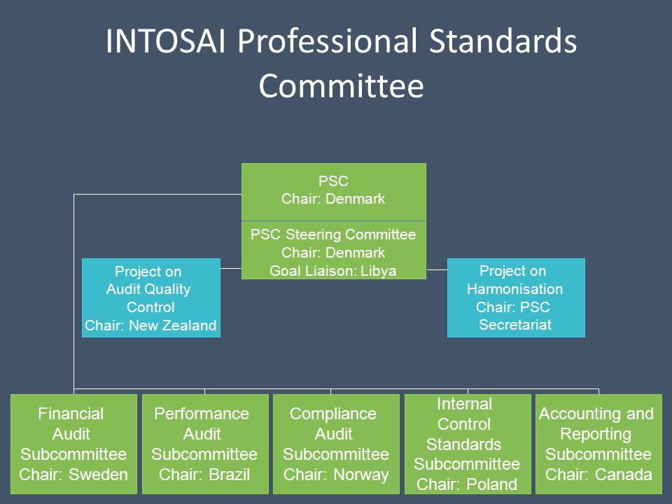 INTOSAI Professional Standards Committee 5 Internal Control Standards Subcommittee Chair: Poland Compliance Audit Subcommittee Chair: Norway Performance Audit Subcommittee Chair: Brazil Financial Audit Subcommittee Chair: Sweden Project on Audit Quality Control Chair: New Zealand PSC Chair: Denmark PSC Steering Committee Chair: Denmark Goal Liaison: Libya Accounting and Reporting Subcommittee Chair: Canada Project on Harmonisation Chair: PSC Secretariat